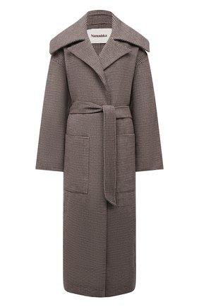 Женское пальто из шерсти и шелка NANUSHKA серого цвета, арт. NW21PF0W00767 | Фото 1 (Материал подклада: Синтетический материал; Материал внешний: Шерсть; Длина (верхняя одежда): Длинные; Рукава: Длинные; 1-2-бортные: Однобортные; Стили: Кэжуэл)
