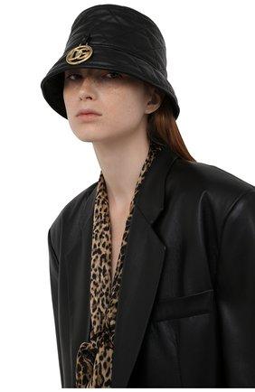 Женская кожаная панама DOLCE & GABBANA черного цвета, арт. FH701L/HULM0   Фото 2