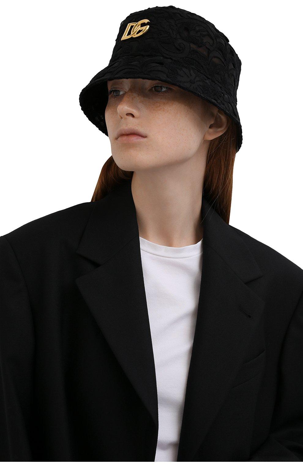 Женская панама из хлопка и шелка DOLCE & GABBANA черного цвета, арт. FH701A/FLM3Z   Фото 2 (Материал: Текстиль, Хлопок)