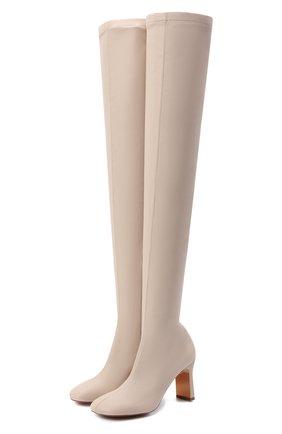 Женские комбинированные ботфорты ivy stretch STELLA MCCARTNEY светло-бежевого цвета, арт. 800381/W1CV0 | Фото 1 (Высота голенища: Высокие; Материал внешний: Текстиль, Экокожа; Подошва: Плоская; Материал внутренний: Текстиль; Каблук высота: Высокий; Каблук тип: Фигурный)