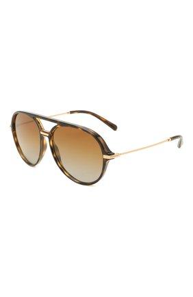 Женские солнцезащитные очки DOLCE & GABBANA коричневого цвета, арт. 6159-502/T5   Фото 1