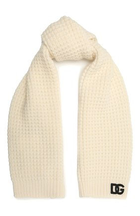 Детский шерстяной шарф DOLCE & GABBANA белого цвета, арт. LBKA91/JBVJ0 | Фото 1 (Материал: Шерсть)