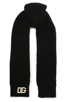 Детский шерстяной шарф DOLCE & GABBANA черного цвета, арт. LBKA91/JBVJ0 | Фото 1 (Материал: Шерсть)