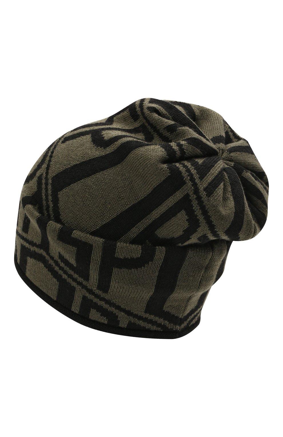 Детского шерстяная шапка CATYA хаки цвета, арт. 125706 | Фото 2 (Материал: Шерсть)