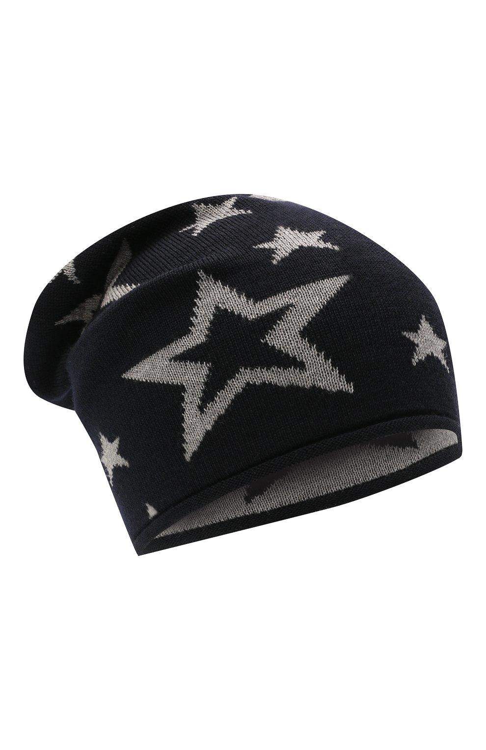 Детского шерстяная шапка CATYA темно-синего цвета, арт. 125704   Фото 1 (Материал: Шерсть)