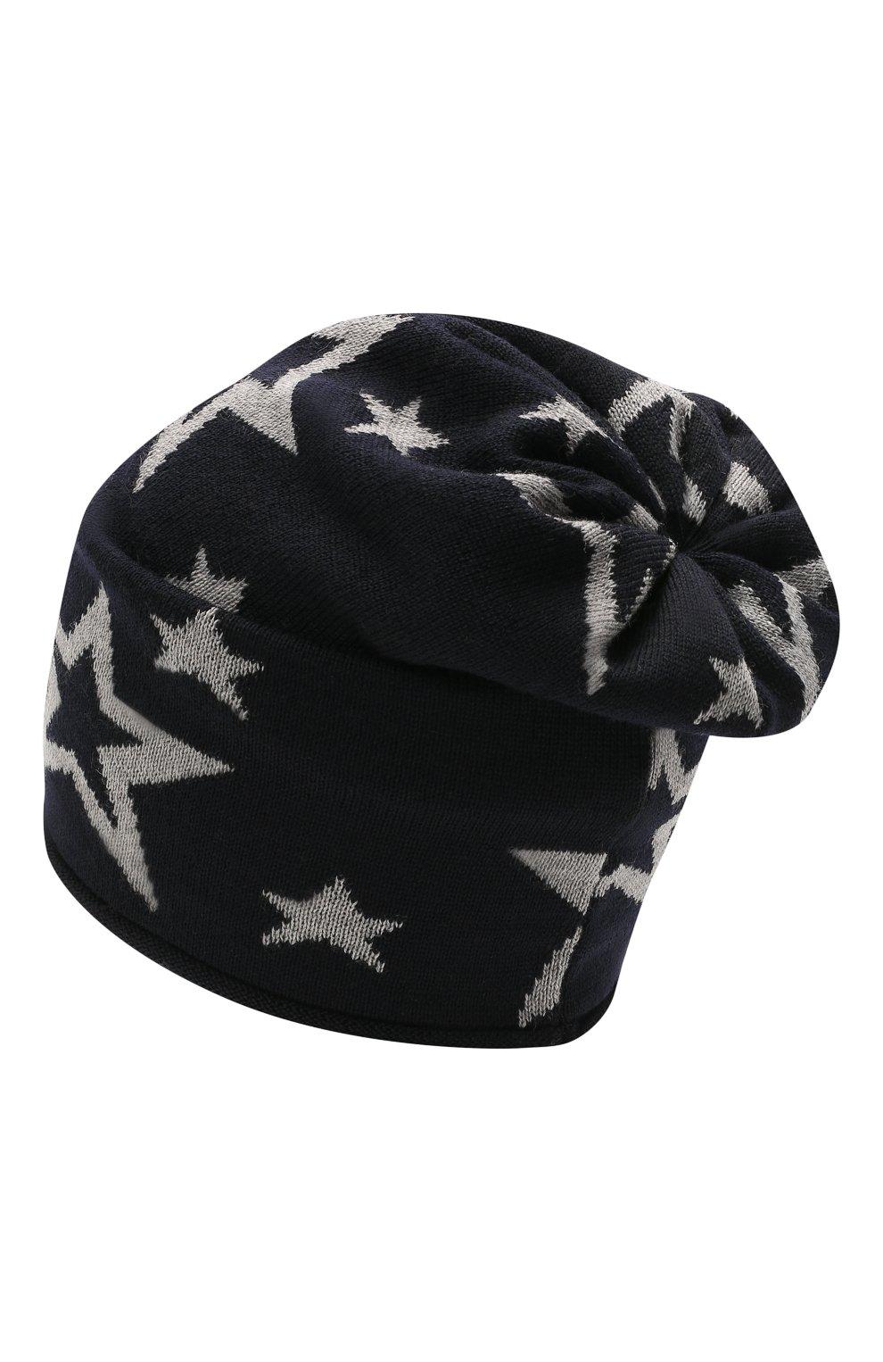 Детского шерстяная шапка CATYA темно-синего цвета, арт. 125704   Фото 2 (Материал: Шерсть)