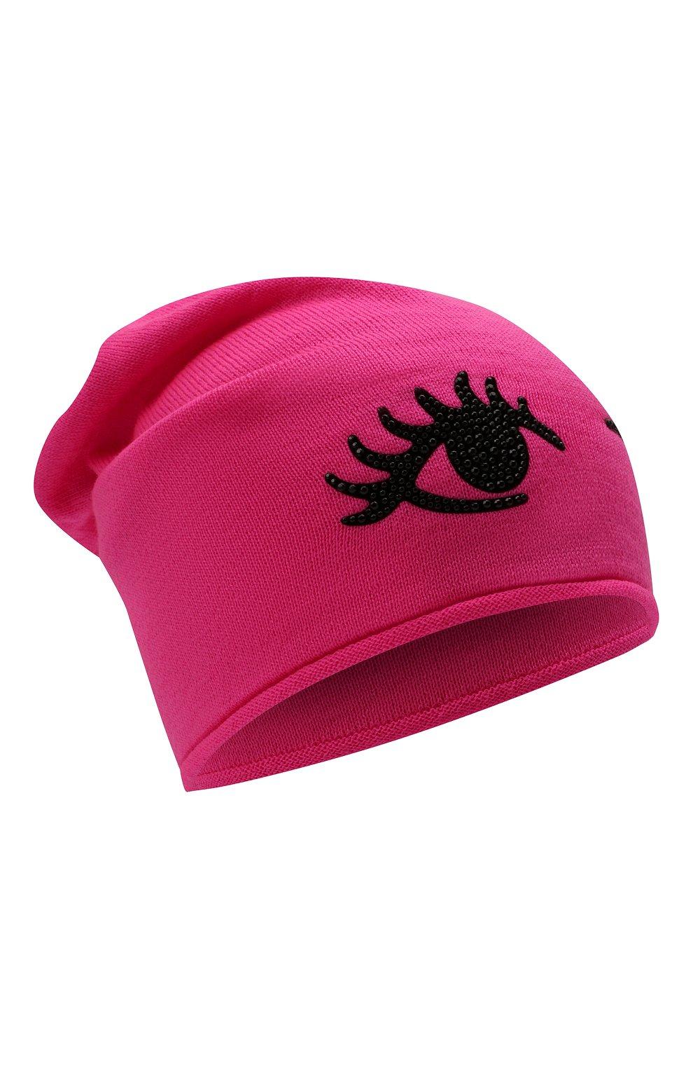 Детского шерстяная шапка CATYA фуксия цвета, арт. 125663 | Фото 1 (Материал: Шерсть)