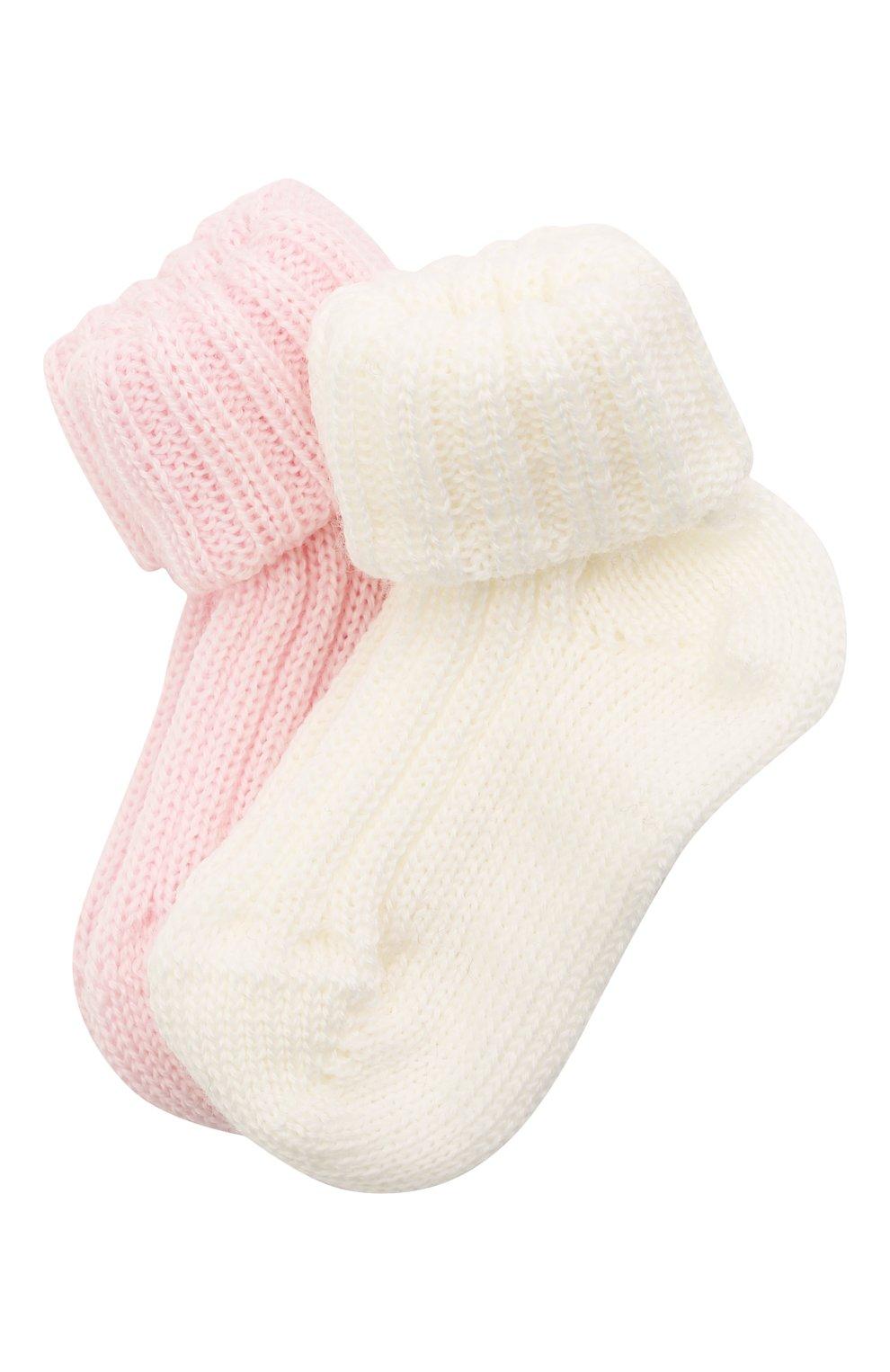 Детские комплект из двух пар носков CATYA розового цвета, арт. 125556   Фото 1 (Материал: Шерсть)