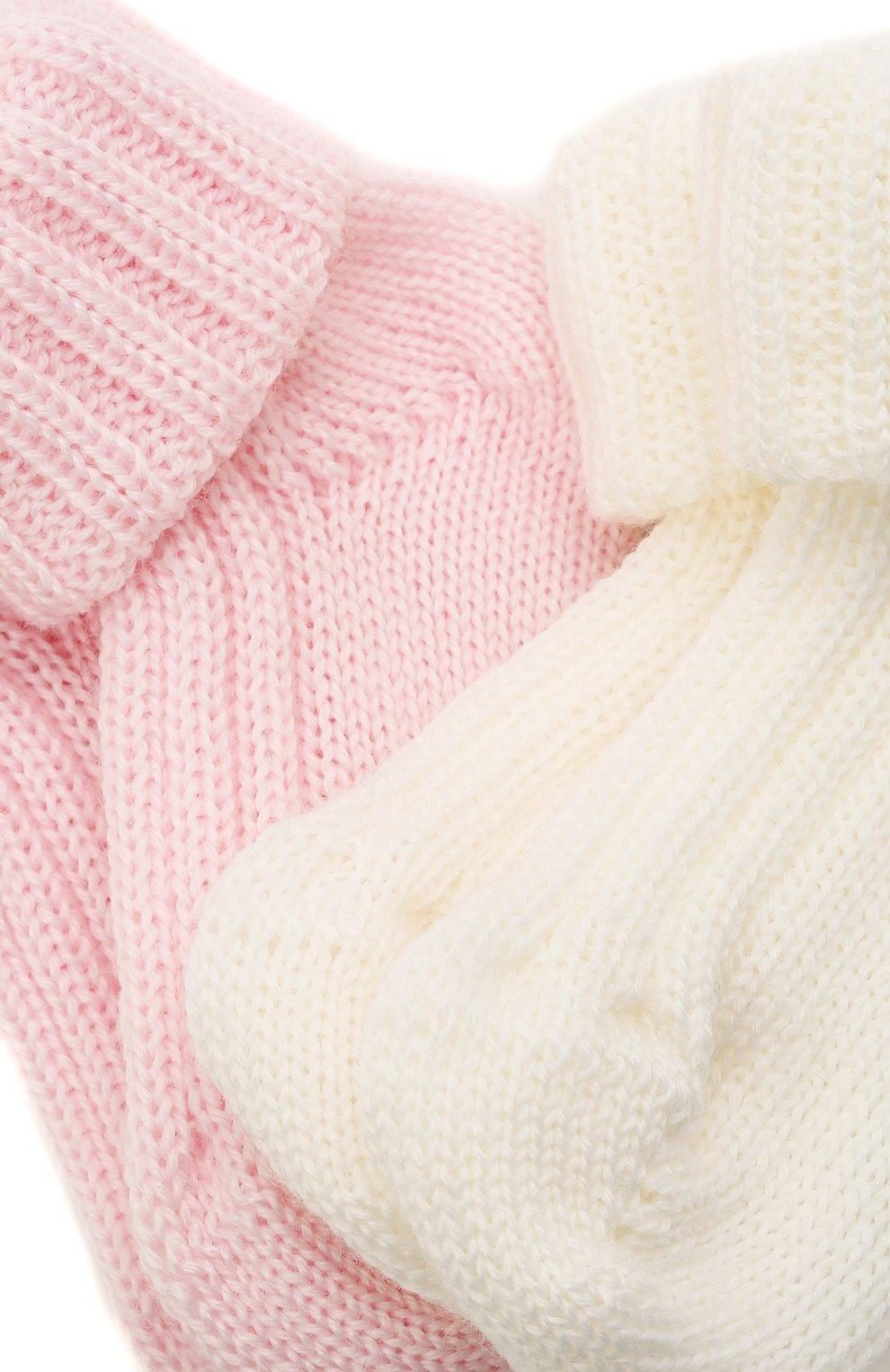 Детские комплект из двух пар носков CATYA розового цвета, арт. 125556   Фото 2 (Материал: Шерсть)
