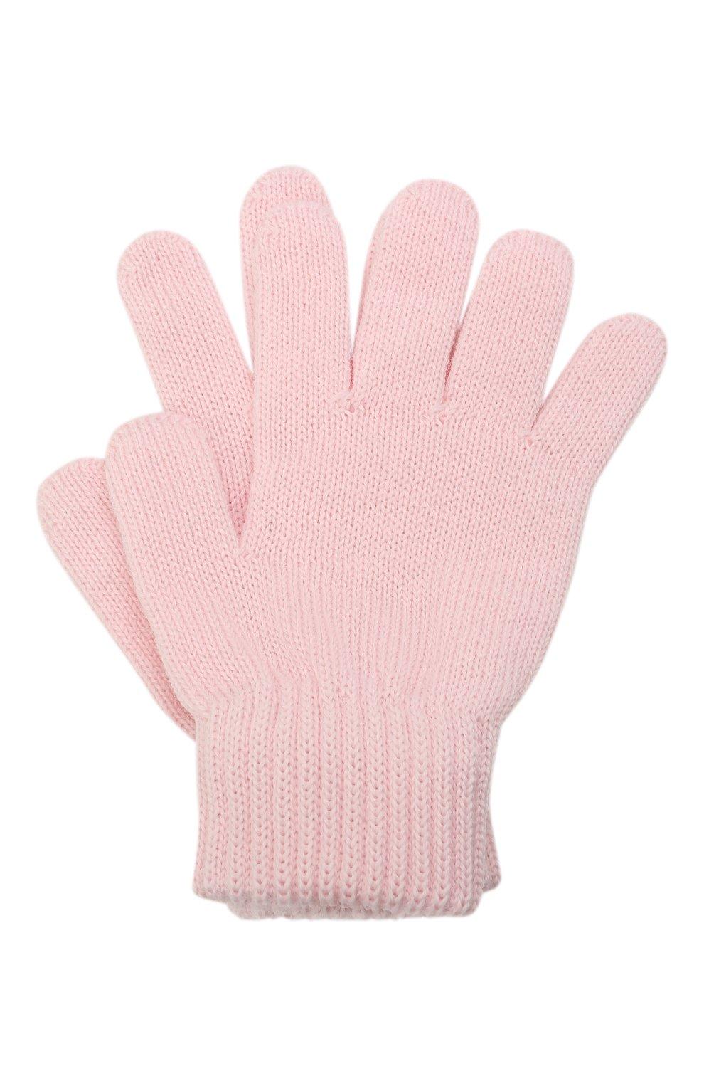 Детские шерстяные перчатки CATYA розового цвета, арт. 125545   Фото 1 (Материал: Шерсть)