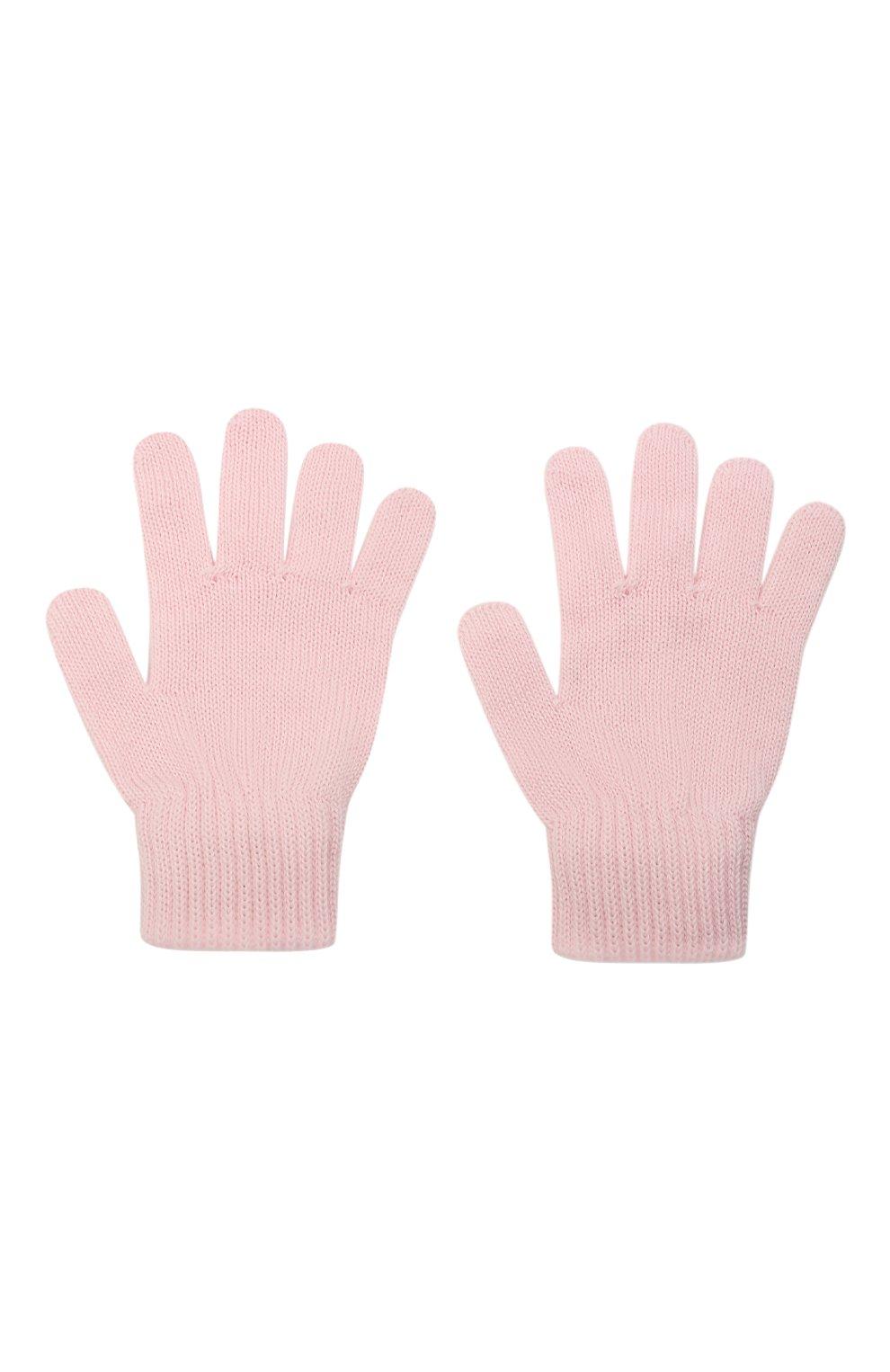 Детские шерстяные перчатки CATYA розового цвета, арт. 125545   Фото 2 (Материал: Шерсть)