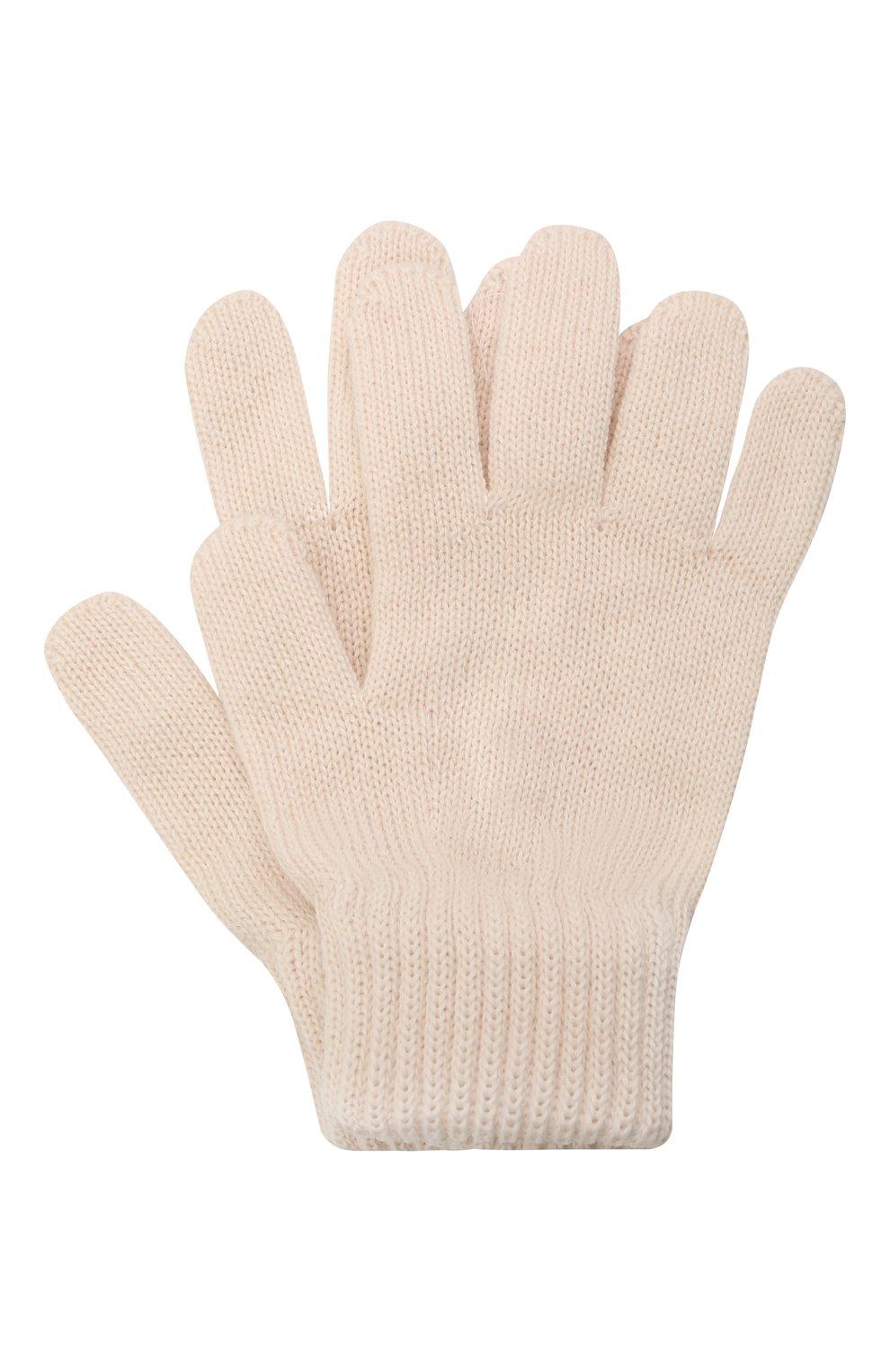 Детские шерстяные перчатки CATYA кремвого цвета, арт. 125545 | Фото 1 (Материал: Шерсть)
