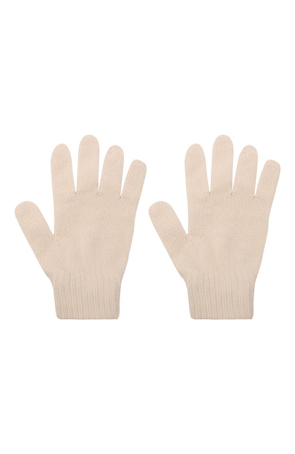 Детские шерстяные перчатки CATYA кремвого цвета, арт. 125545 | Фото 2 (Материал: Шерсть)