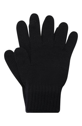 Детские шерстяные перчатки CATYA темно-синего цвета, арт. 125545 | Фото 1 (Материал: Шерсть)