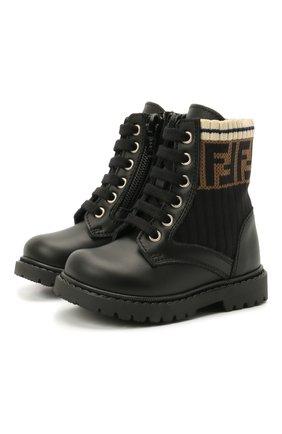 Детские кожаные ботинки FENDI черного цвета, арт. JMR330/A8CU/19-26 | Фото 1