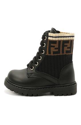 Детские кожаные ботинки FENDI черного цвета, арт. JMR330/A8CU/19-26 | Фото 2