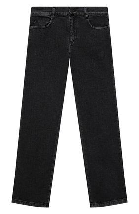 Детские джинсы FENDI серого цвета, арт. JUF046/AG3B/8A-12+   Фото 1 (Материал внешний: Хлопок; Ростовка одежда: 10 - 11 лет   140 - 146см, 12 лет   152 см, 8 лет   128 см)