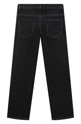 Детские джинсы FENDI серого цвета, арт. JUF046/AG3B/8A-12+   Фото 2 (Материал внешний: Хлопок; Ростовка одежда: 10 - 11 лет   140 - 146см, 12 лет   152 см, 8 лет   128 см)