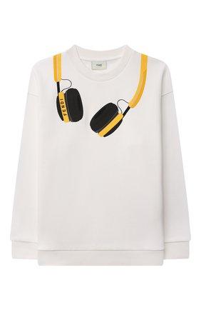 Детский хлопковый свитшот FENDI белого цвета, арт. JMH153/5V0/3A-6A | Фото 1 (Материал внешний: Хлопок; Рукава: Длинные; Мальчики Кросс-КТ: Толстовка-одежда; Ростовка одежда: 4 года | 104 см, 5 лет | 110 см, 6 лет | 116 см)