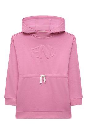 Детское хлопковое худи FENDI розового цвета, арт. JFH121/5V0/3A-6A | Фото 1