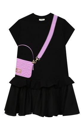 Детское хлопковое платье FENDI черного цвета, арт. JFB382/AG3Z/8A-12+ | Фото 1