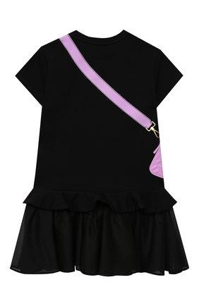 Детское хлопковое платье FENDI черного цвета, арт. JFB382/AG3Z/8A-12+ | Фото 2