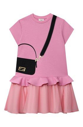 Детское хлопковое платье FENDI розового цвета, арт. JFB382/AG3Z/8A-12+ | Фото 1