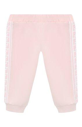 Детские хлопковые брюки FENDI розового цвета, арт. BUF029/8RA/3M-9M   Фото 1 (Материал внешний: Хлопок; Ростовка одежда: 3 мес   62 см, 6 мес   68 см, 9 мес   74 см)