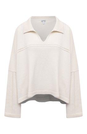 Женский пуловер из кашемира и хлопка LOEWE белого цвета, арт. S359Y14K32 | Фото 1 (Рукава: Длинные; Длина (для топов): Стандартные; Материал внешний: Кашемир, Хлопок, Шерсть; Женское Кросс-КТ: Пуловер-одежда; Стили: Кэжуэл)