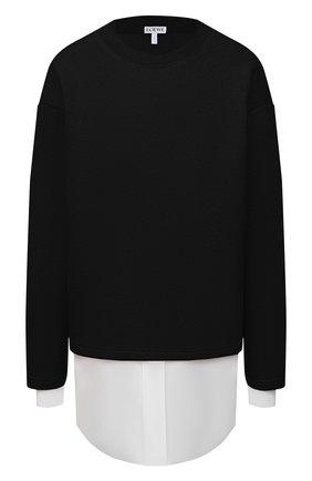 Женский шерстяной пуловер LOEWE черного цвета, арт. S359341XAY | Фото 1 (Материал подклада: Хлопок; Рукава: Длинные; Материал внешний: Шерсть; Длина (для топов): Стандартные; Женское Кросс-КТ: Пуловер-одежда; Стили: Кэжуэл)
