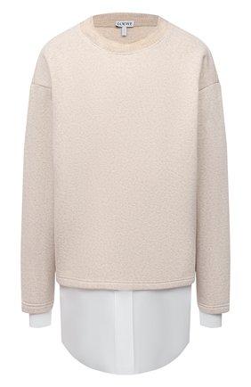 Женский пуловер из хлопка и вискозы LOEWE бежевого цвета, арт. S359341XAX | Фото 1
