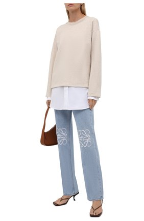 Женский пуловер из хлопка и вискозы LOEWE бежевого цвета, арт. S359341XAX | Фото 2