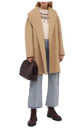 Женское пальто из шерсти и кашемира THE ROW бежевого цвета, арт. 4893W1750 | Фото 2 (Длина (верхняя одежда): До середины бедра; Рукава: Длинные; Материал внешний: Шерсть; 1-2-бортные: Однобортные; Стили: Кэжуэл)