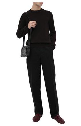 Мужские кожаные слиперы BOTTEGA VENETA бордового цвета, арт. 620304/VBTR0 | Фото 2 (Материал внутренний: Натуральная кожа; Стили: Кэжуэл)
