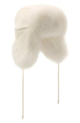 Женская шапка-ушанка из меха лисы MANZONI24 белого цвета, арт. 21M403-DB1AFL8   Фото 1