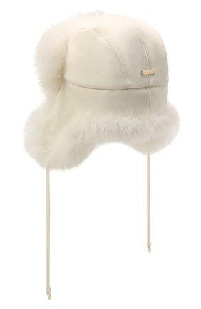 Женская шапка-ушанка из меха лисы MANZONI24 белого цвета, арт. 21M403-DB1AFL8   Фото 2