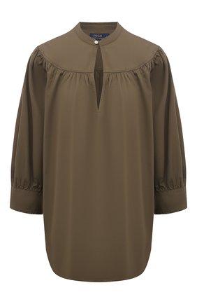 Женская хлопковая блузка POLO RALPH LAUREN зеленого цвета, арт. 211838980 | Фото 1 (Рукава: 3/4; Материал внешний: Хлопок; Длина (для топов): Стандартные; Женское Кросс-КТ: Блуза-одежда; Принт: Без принта; Стили: Кэжуэл)