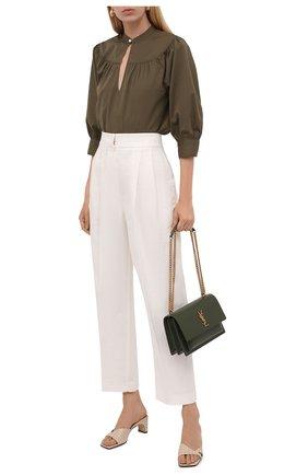 Женская хлопковая блузка POLO RALPH LAUREN зеленого цвета, арт. 211838980 | Фото 2 (Рукава: 3/4; Материал внешний: Хлопок; Длина (для топов): Стандартные; Женское Кросс-КТ: Блуза-одежда; Принт: Без принта; Стили: Кэжуэл)