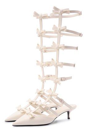 Женские кожаные туфли french bows VALENTINO белого цвета, арт. WW2S0CP9/CCC | Фото 1