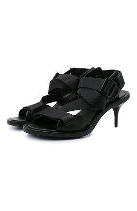 Женские комбинированные босоножки ALEXANDER MCQUEEN черного цвета, арт. 667309/W4R52 | Фото 1