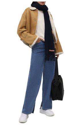 Мужской шерстяной шарф ACNE STUDIOS синего цвета, арт. CA0086/M | Фото 2 (Материал: Шерсть; Кросс-КТ: шерсть)