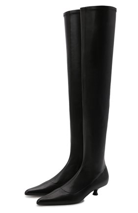 Женские кожаные сапоги volos KHAITE черного цвета, арт. F1018-740/V0L0S   Фото 1 (Материал внутренний: Натуральная кожа; Подошва: Плоская; Каблук высота: Низкий; Высота голенища: Высокие; Каблук тип: Kitten heel)