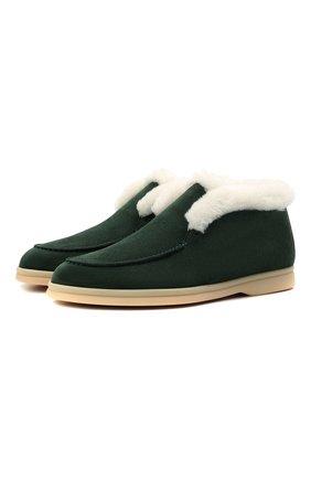 Женские замшевые ботинки LORO PIANA зеленого цвета, арт. FAL7979 | Фото 1 (Материал утеплителя: Натуральный мех; Женское Кросс-КТ: Зимние ботинки, Дезерты-ботинки; Каблук высота: Низкий; Подошва: Плоская; Материал внешний: Замша)