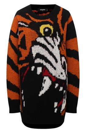 Женский шерстяной свитер DSQUARED2 разноцветного цвета, арт. S75HA1061/S17778   Фото 1 (Рукава: Длинные; Длина (для топов): Удлиненные; Материал внешний: Шерсть; Женское Кросс-КТ: Свитер-одежда; Стили: Спорт-шик)