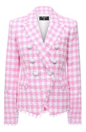 Женский хлопковый жакет BALMAIN светло-розового цвета, арт. WF1SG000/C307   Фото 1