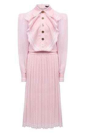 Женское платье из вискозы BALMAIN светло-розового цвета, арт. WF1RL020/K249   Фото 1 (Рукава: Длинные; Материал внешний: Вискоза; Женское Кросс-КТ: Платье-одежда; Стили: Романтичный; Длина Ж (юбки, платья, шорты): Миди; Случай: Вечерний)