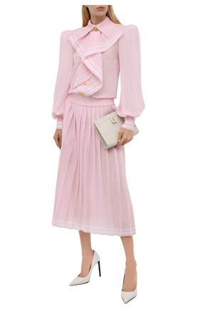 Женское платье из вискозы BALMAIN светло-розового цвета, арт. WF1RL020/K249   Фото 2 (Рукава: Длинные; Материал внешний: Вискоза; Женское Кросс-КТ: Платье-одежда; Стили: Романтичный; Длина Ж (юбки, платья, шорты): Миди; Случай: Вечерний)