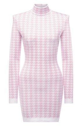 Женское платье из вискозы BALMAIN светло-розового цвета, арт. WF1R8241/K286   Фото 1 (Материал внешний: Вискоза; Длина Ж (юбки, платья, шорты): Мини; Рукава: Длинные; Женское Кросс-КТ: Платье-одежда; Стили: Гламурный; Кросс-КТ: Трикотаж; Случай: Вечерний)