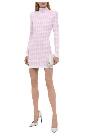 Женское платье из вискозы BALMAIN светло-розового цвета, арт. WF1R8241/K286   Фото 2 (Материал внешний: Вискоза; Длина Ж (юбки, платья, шорты): Мини; Рукава: Длинные; Женское Кросс-КТ: Платье-одежда; Стили: Гламурный; Кросс-КТ: Трикотаж; Случай: Вечерний)