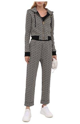 Женский хлопковый кардиган BALMAIN черно-белого цвета, арт. WF1JX000/J193   Фото 2 (Материал внешний: Хлопок; Рукава: Длинные; Длина (для топов): Стандартные; Женское Кросс-КТ: Кардиган-одежда; Стили: Спорт-шик)